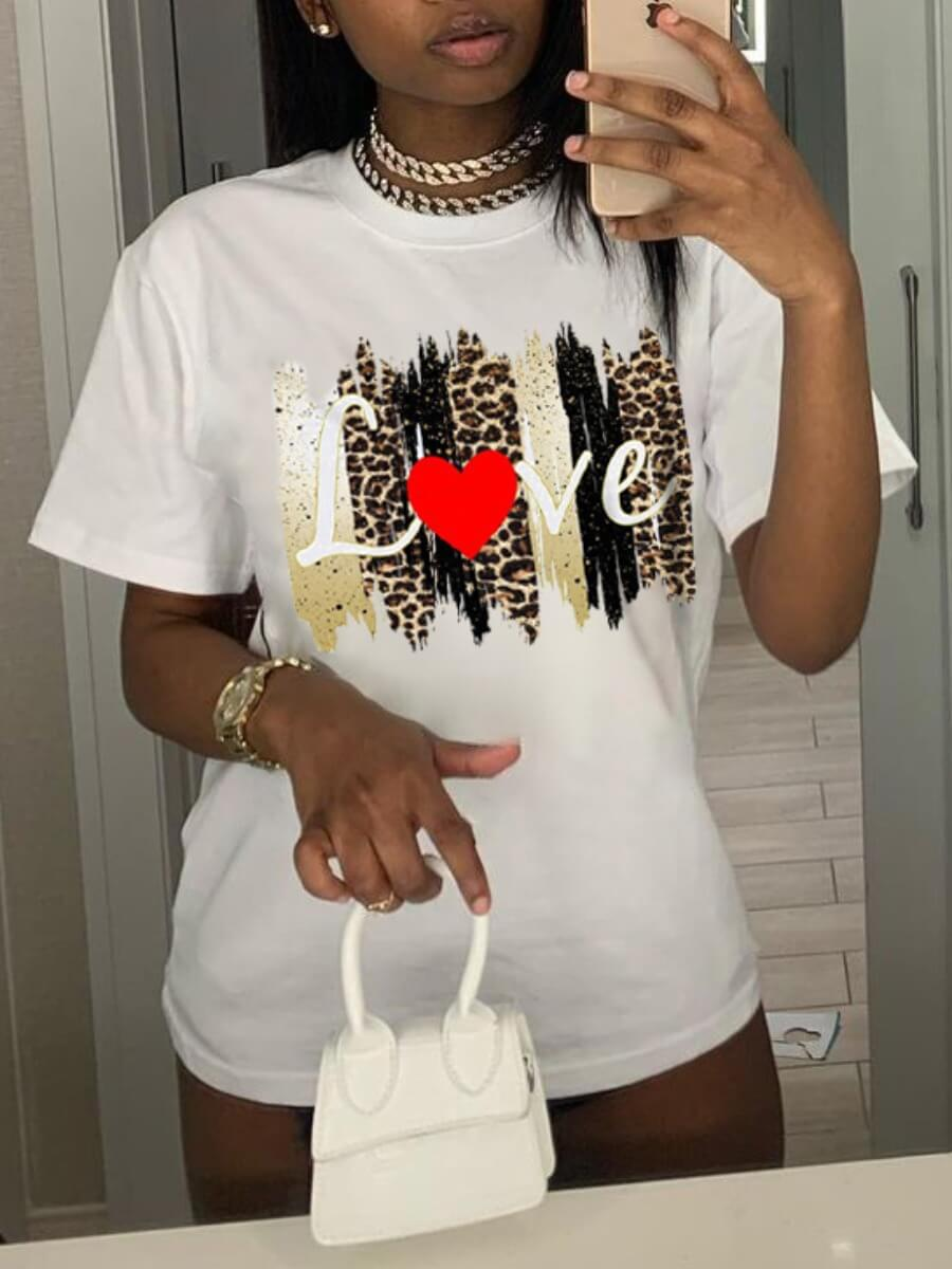 Lovely Casual Leopard Heart-shaped Print White T-shirt