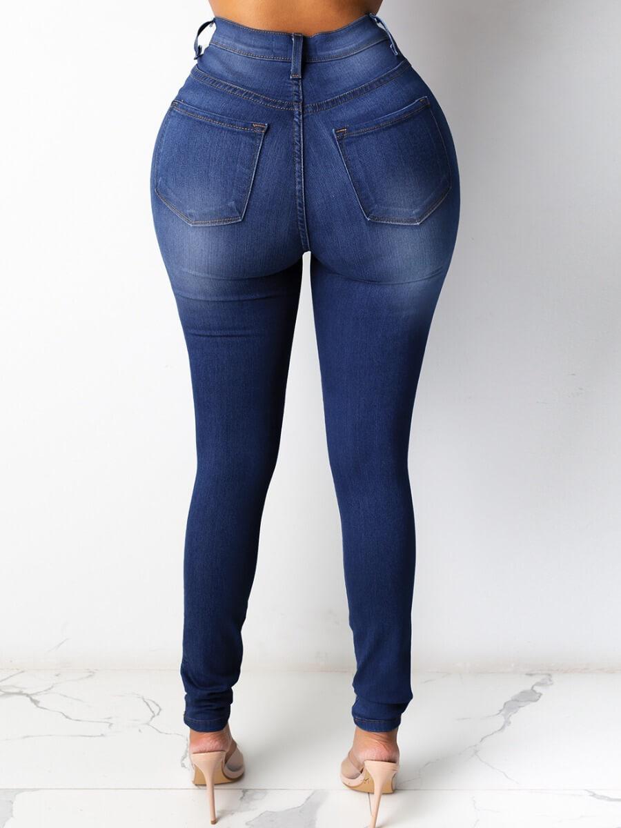 LW Casual High-waisted Zipper Design Skinny Deep Blue Jeans