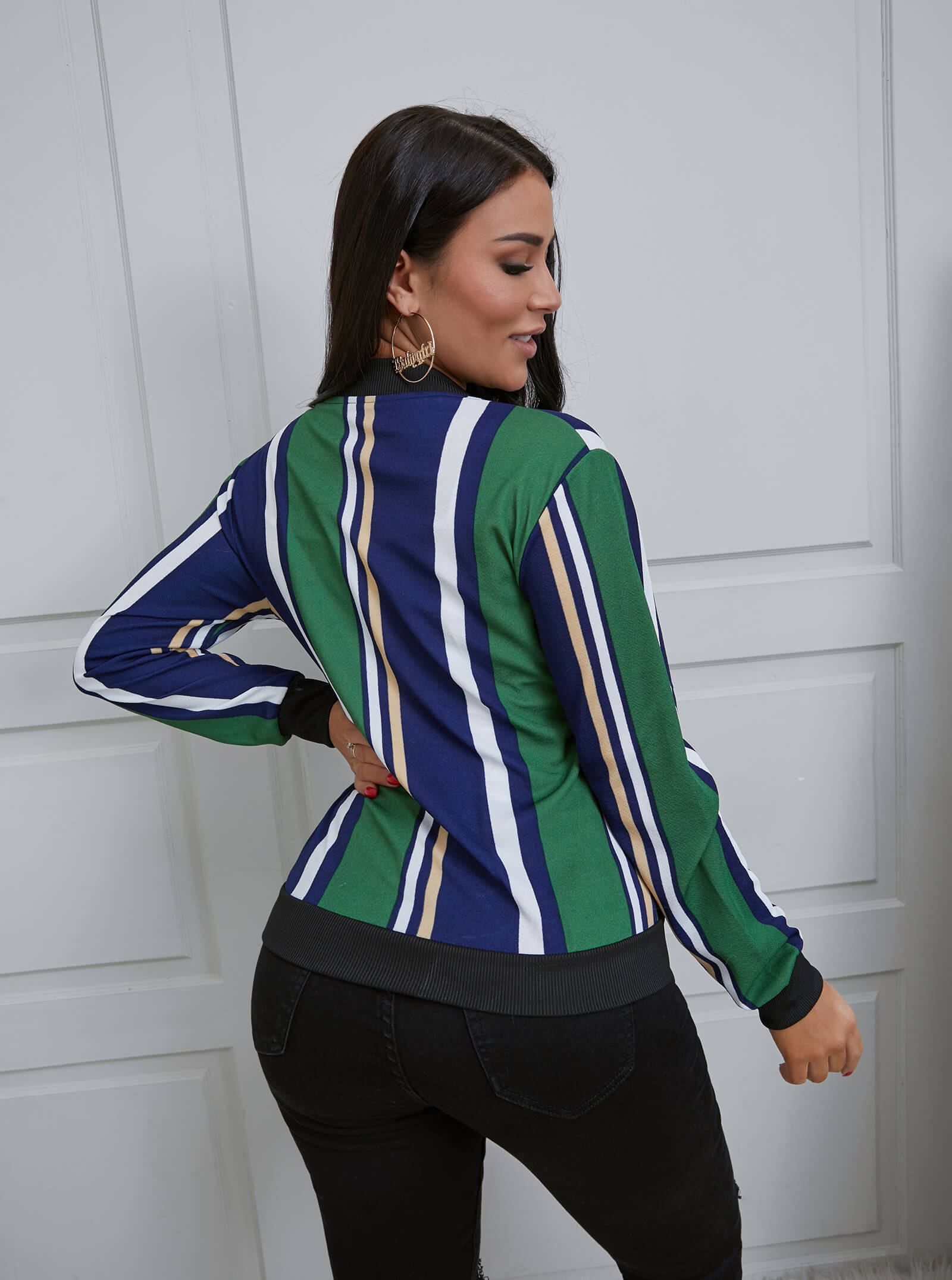 Lovely Casual Striped Print Patchwork Green Jacket