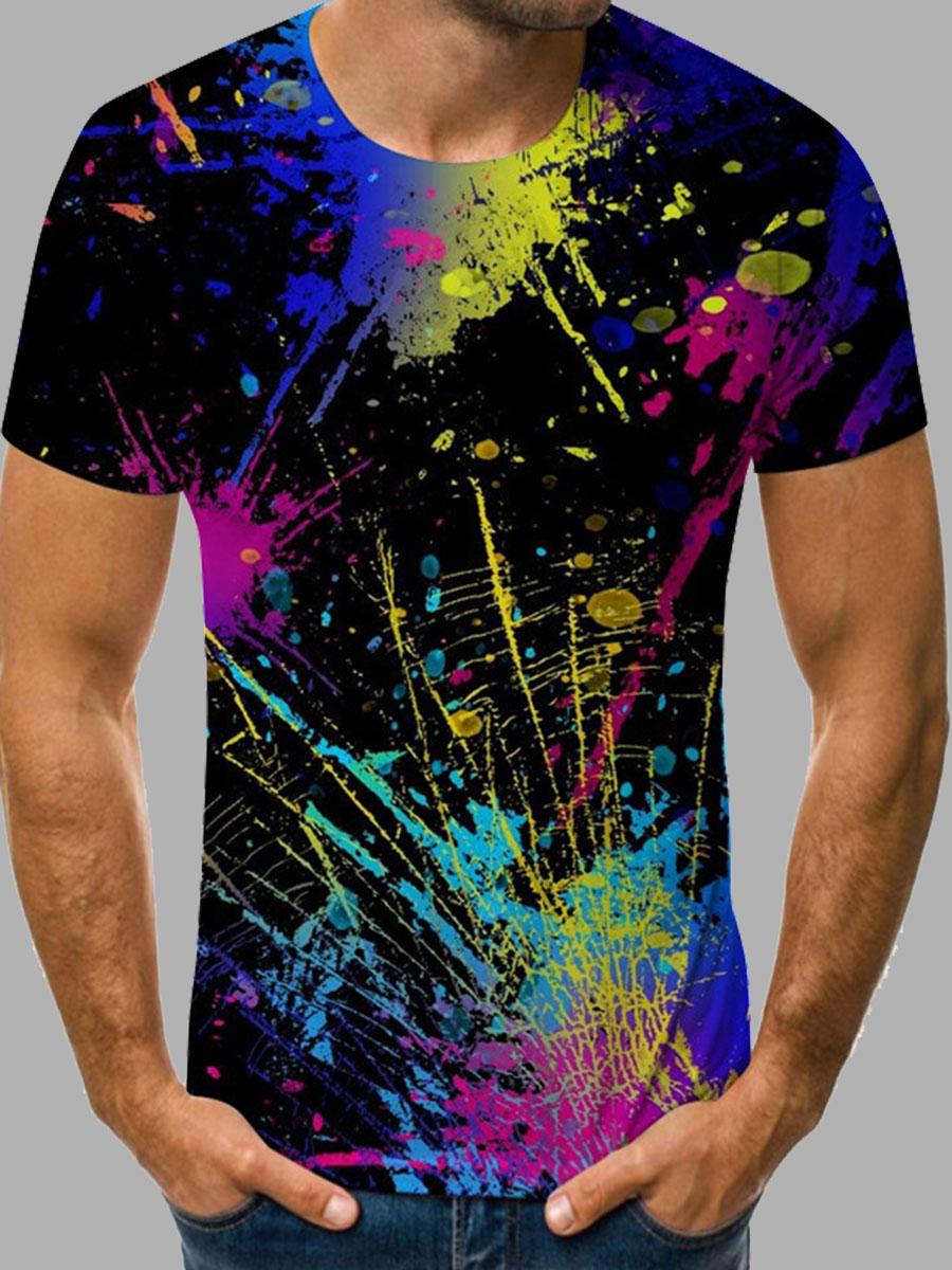 LW BASICS Men Street Splash Ink Print Patchwork Black T-shirt