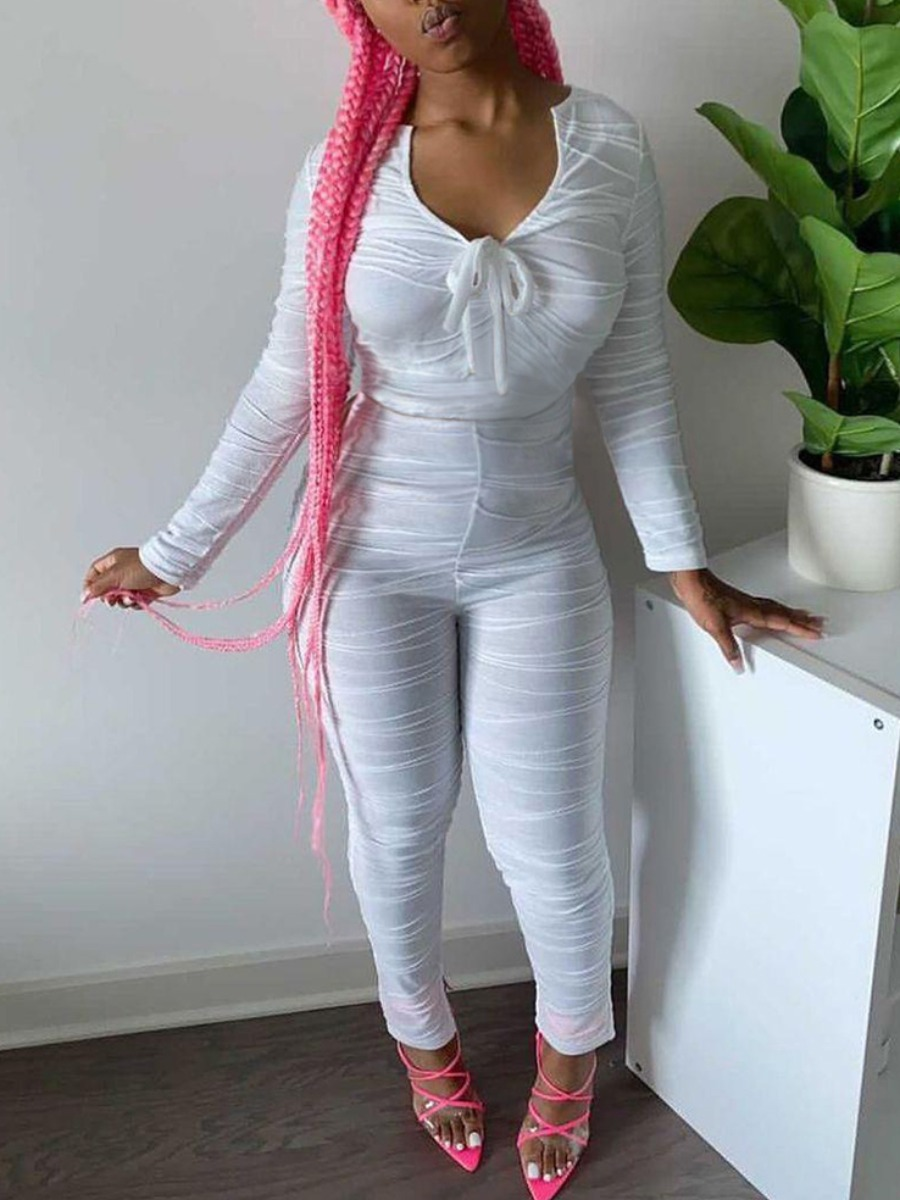 Lovely Sweet Ruched Drawstring White One-piece Jumpsuit