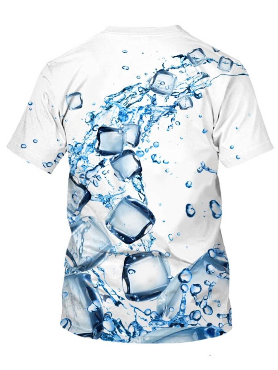 LW Men Round Neck Ice Cube Print T-shirt