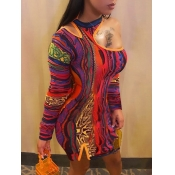 Lovely Street One Shoulder Hollow-out Print Patchwork Orange Mini Dress