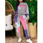 Lovely Sportswear Letter Print Patchwork Purple Pl