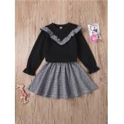 Lovely Sweet Flounce Design Plaid Print Black Girl