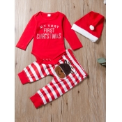 Lovely Trendy Christmas Day Letter Print Red Boy T