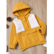 Lovely Casual Button Design Color-lump Patchwork Y