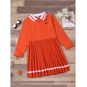 Lovely Sweet Pleated Striped Patchwork Orange Girl