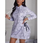 Lovely Casual Hooded Collar Print Drawstring Grey