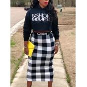 Lovely Trendy Hooded Collar Letter Plaid Print Black Two Piece Skirt Set