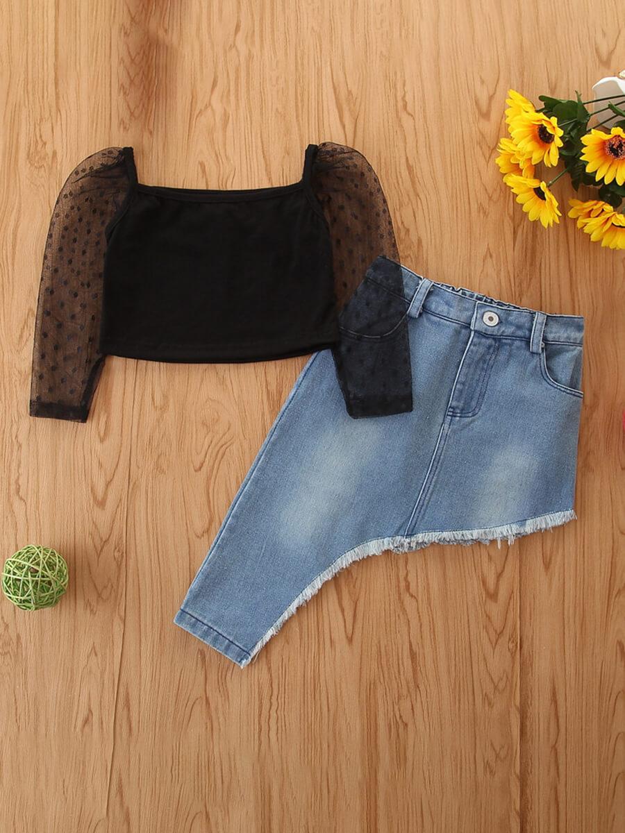 LW COTTON Girl Casual Mesh Patchwork Asymmetrical Black Two Piece Skirt Set