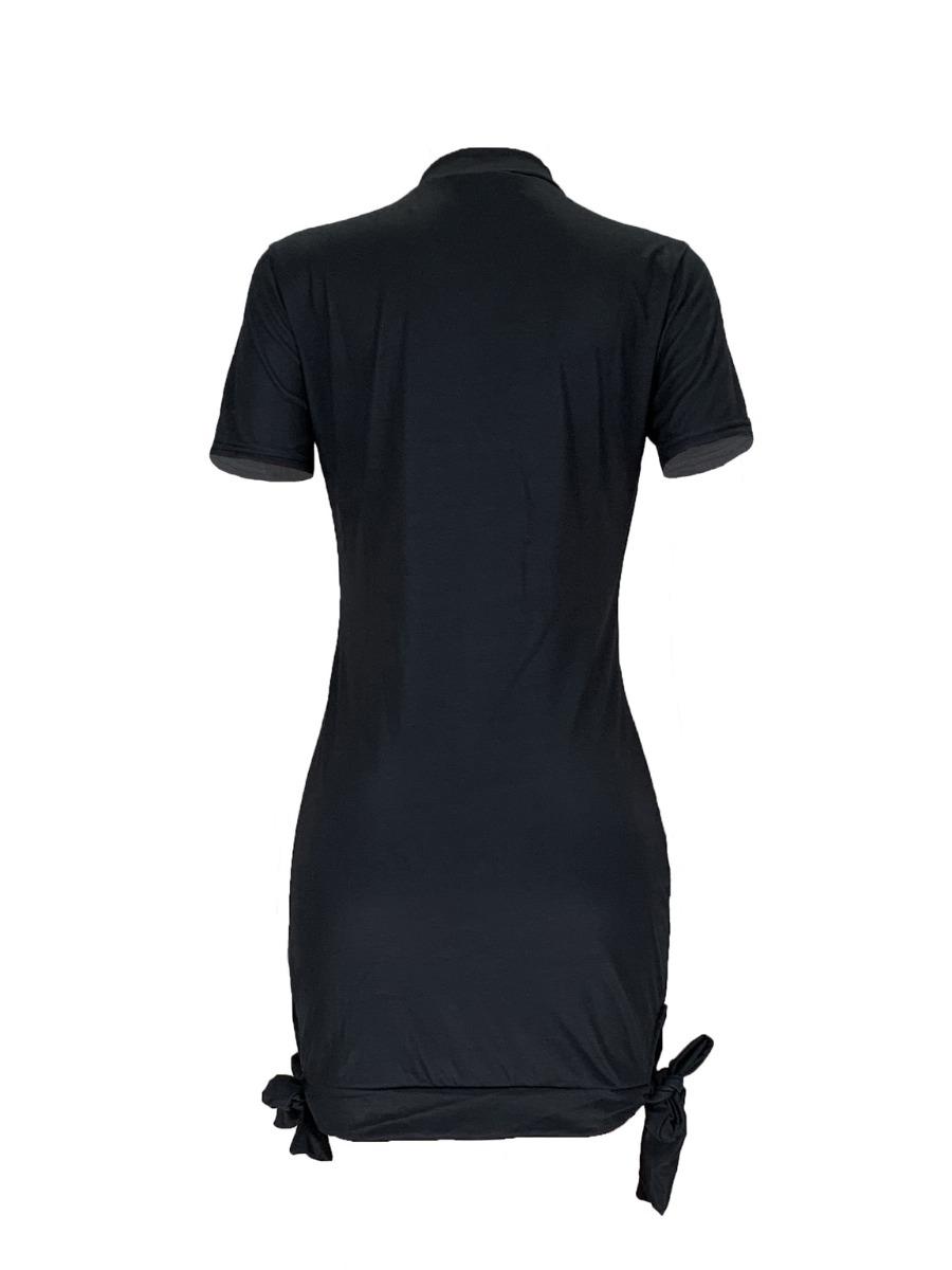 LW BASICS Plus Size Street Lip Print Knot Design Black Mini Dress