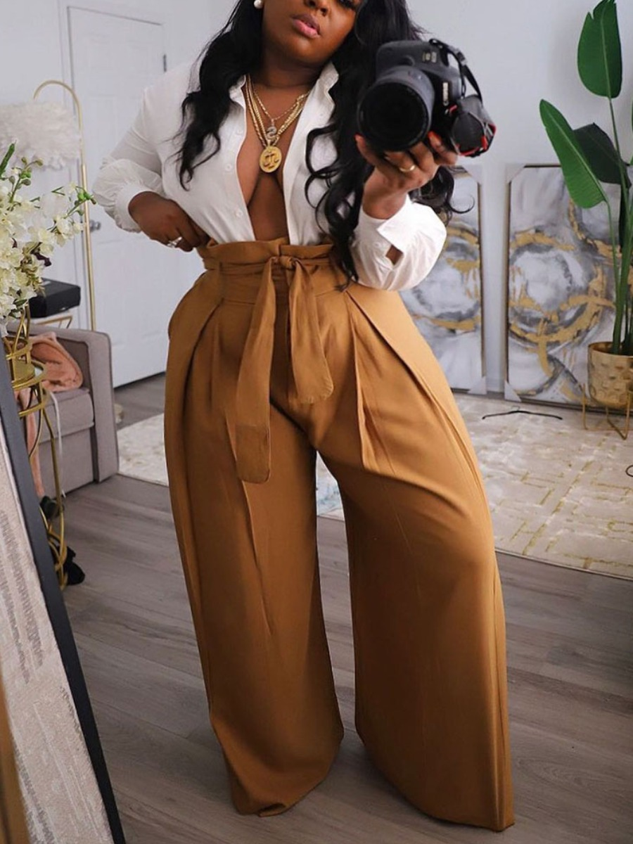 Lovely Formal Lace-up Loose Brown Plus Size Pants