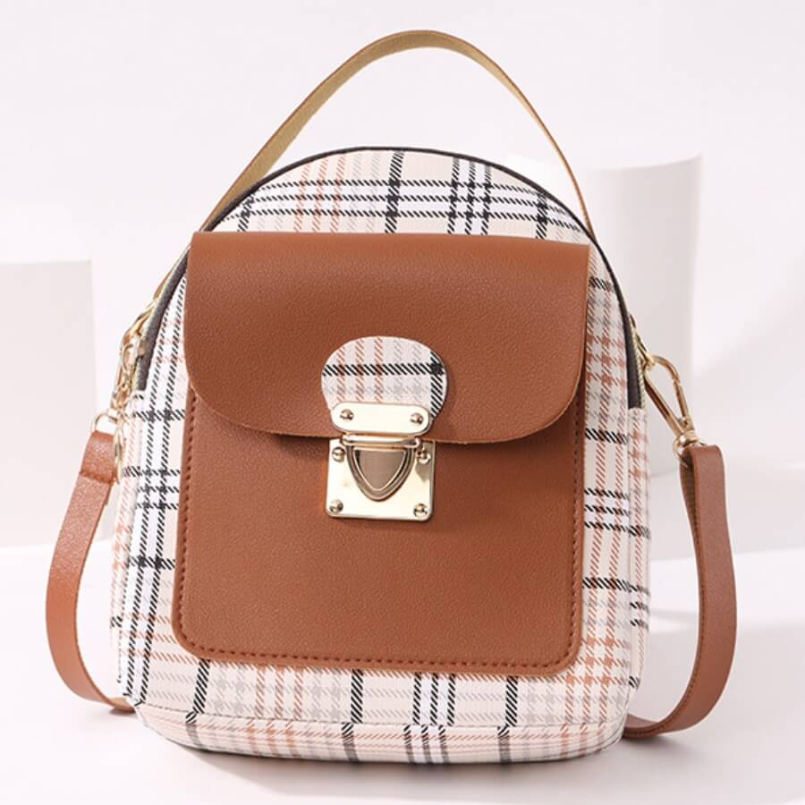 Lovely Casual Plaid Print Patchwork Metal Accessories Decoration Brown Crossbody Bag