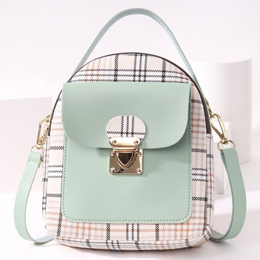 LW Casual Plaid Print Patchwork Metal Accessories Decoration Green Crossbody Bags