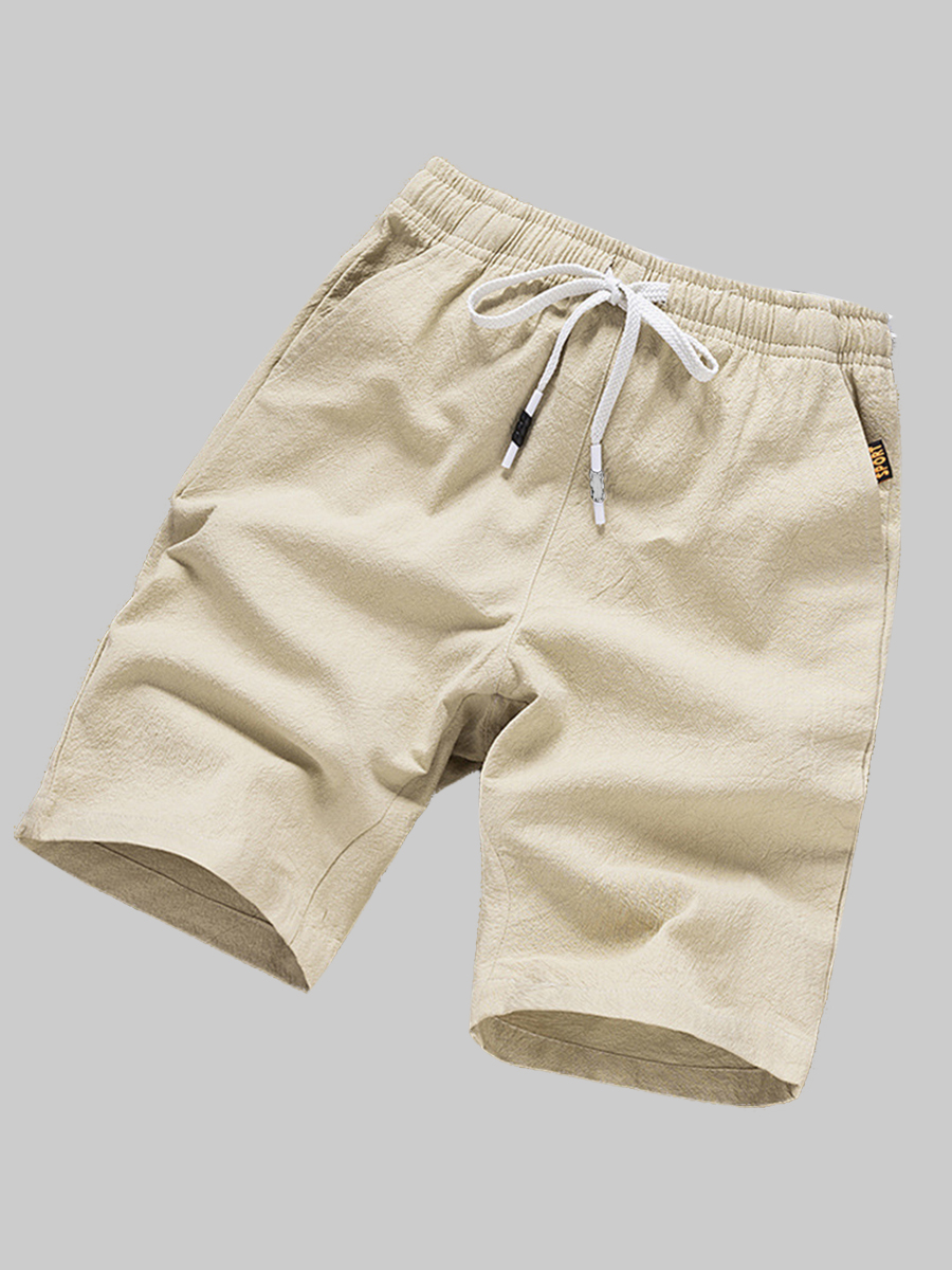 Lovely Casual Mid Waist Drawstring Khaki Men Shorts