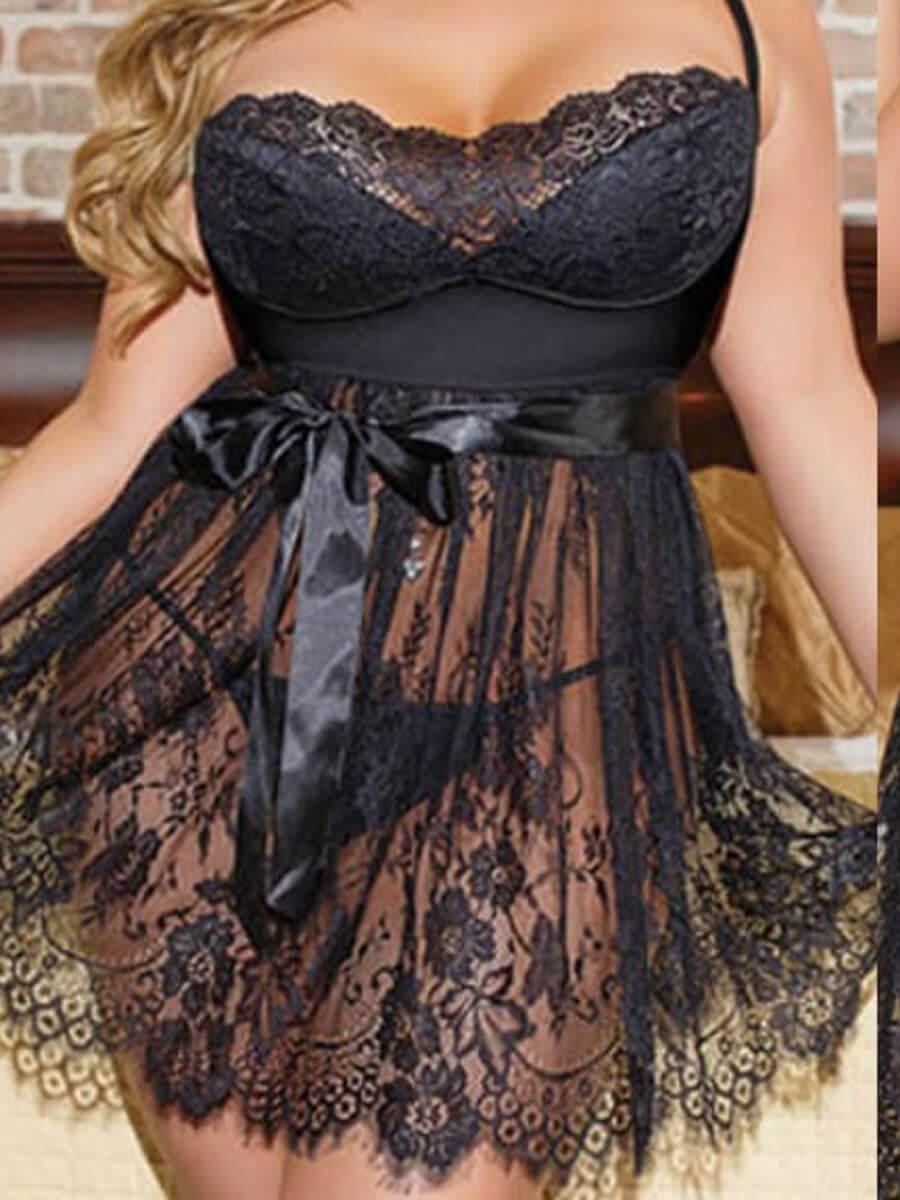 LW SXY Plus Size See-through Bandage Design Black Bra Sets