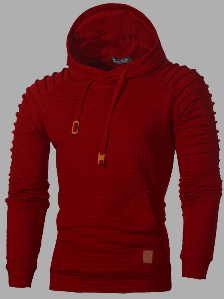 LW Men Casual Hooded Collar Kangaroo Pocket Red Hoodie