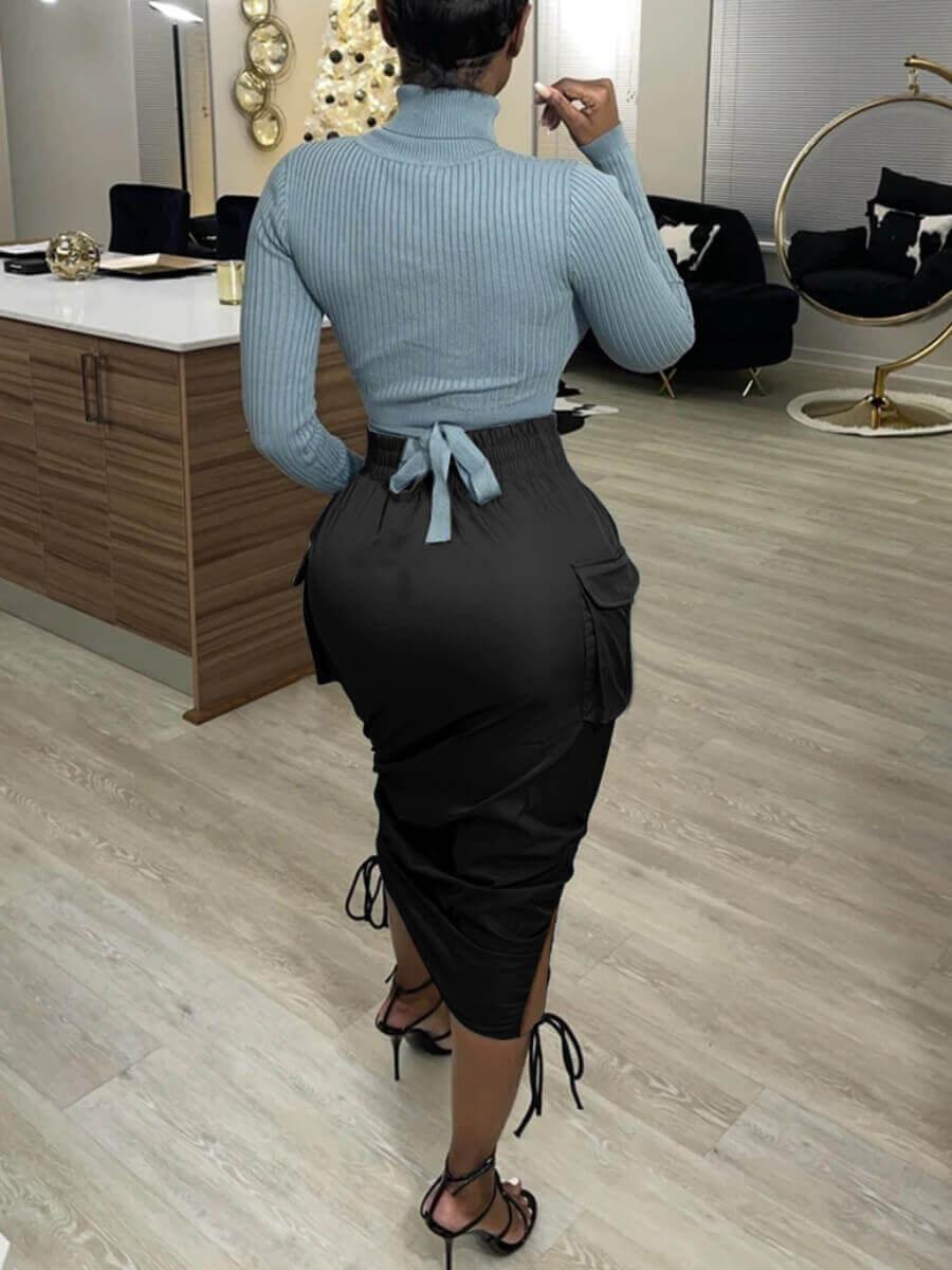 Lovely Stylish Ruched Drawstring Side Pocket Black Mid Calf Dress