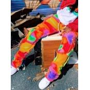 Lovely Chic Color-lump Patchwork Pocket Design Multicolor Pants
