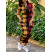 Lovely Casual Plaid Print Patchwork Red Ankle Length Dress