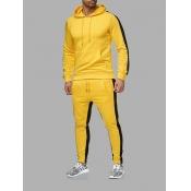 Lovely Sportswear Patchwork Drawstring Yellow Men Two Piece Pants Set