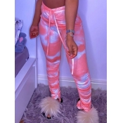 Lovely Casual Tie-dye Ruched Drawstring Red Pants