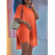 Lovely Casual Dropped Shoulder Split Croci Two Piece Shorts Set