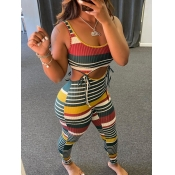Lovely Chic Striped Rib-Knit Bandage Design Multicolor Two Piece Pants Set