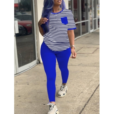 Lovely Casual O Neck Striped Patchwork Blue Two Pi