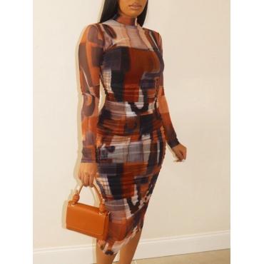LW Plus Size Elegant Half A Turtleneck Print Multicolor Mid Calf Dress