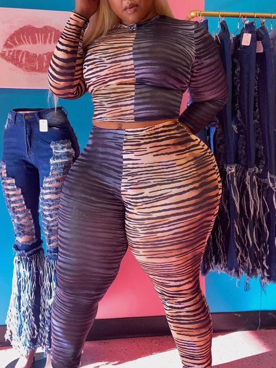 LW Plus Size Sweet O Neck Leopard Print Patchwork Multicolor Two-piece Pants Set