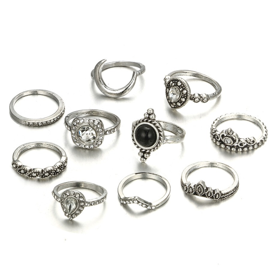 Lovely Casual Moon Decoration Silver 10-piece Ring