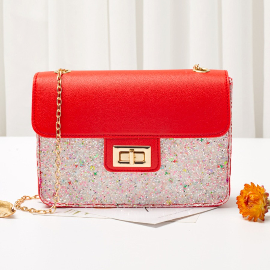 Lovely Casual Metal Accessories Decoration Patchwork Red Crossbody Bag