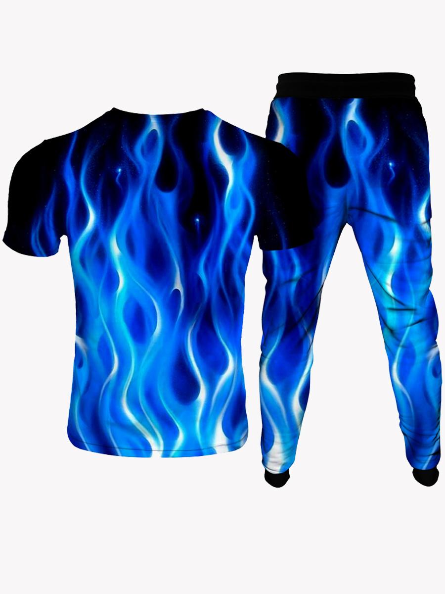 Lovely Men Street Flame Print Drawstring Blue Two Piece Pants Set