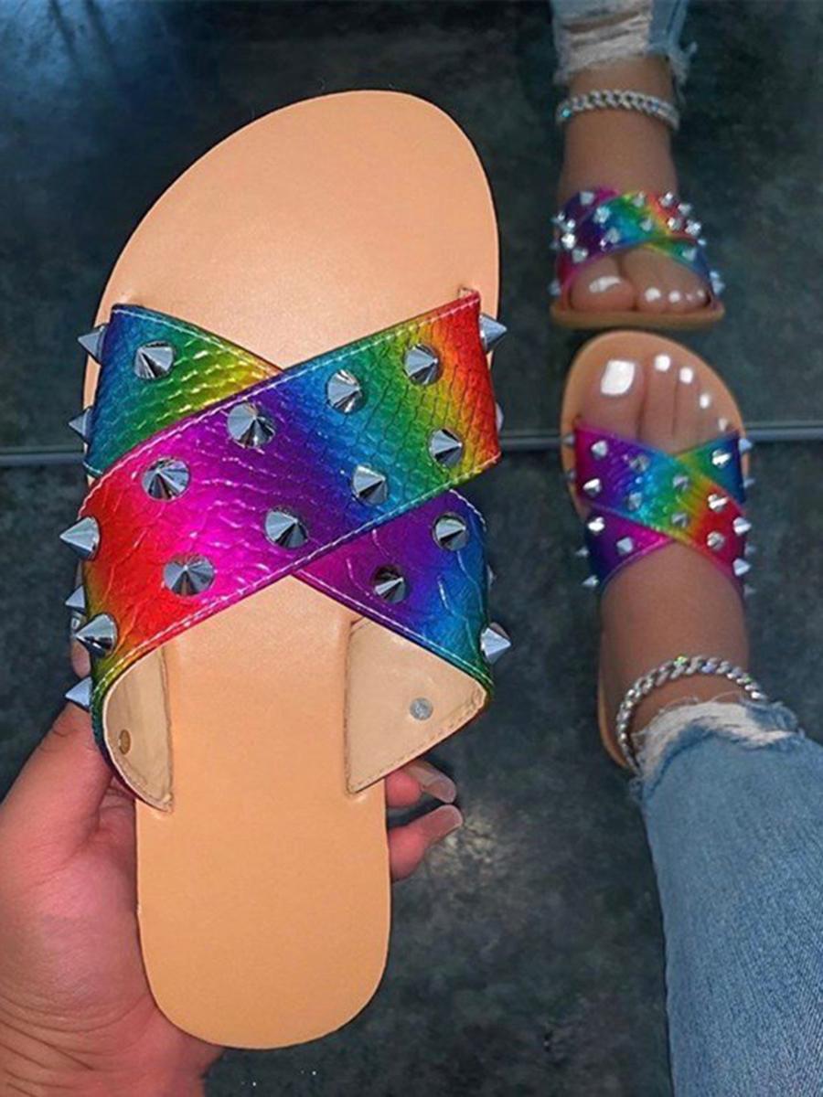 Lovely Casual Tie-dye Rivet Multicolor Slippers