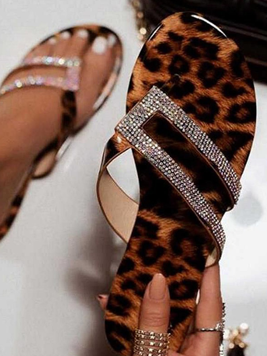Lovely Casual Leopard Print Sequined Slippers