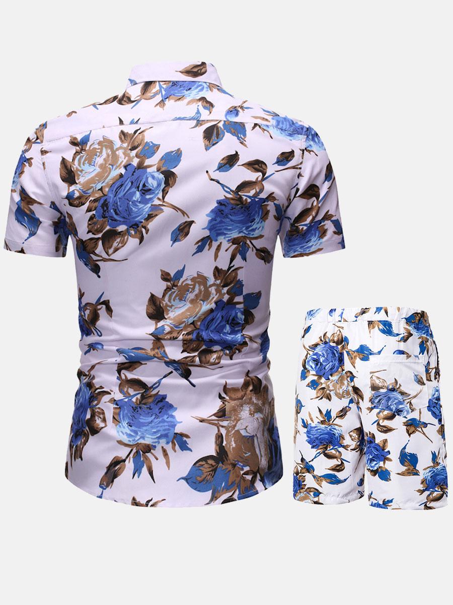 LW Men Boho Floral Print Drawstring Blue Two Piece Shorts Set