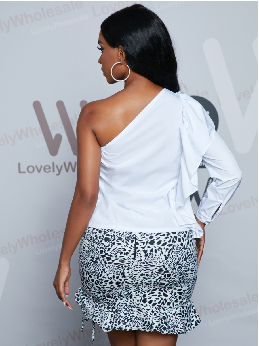 Lovely Sweet One Shoulder Flounce Design White Blouse