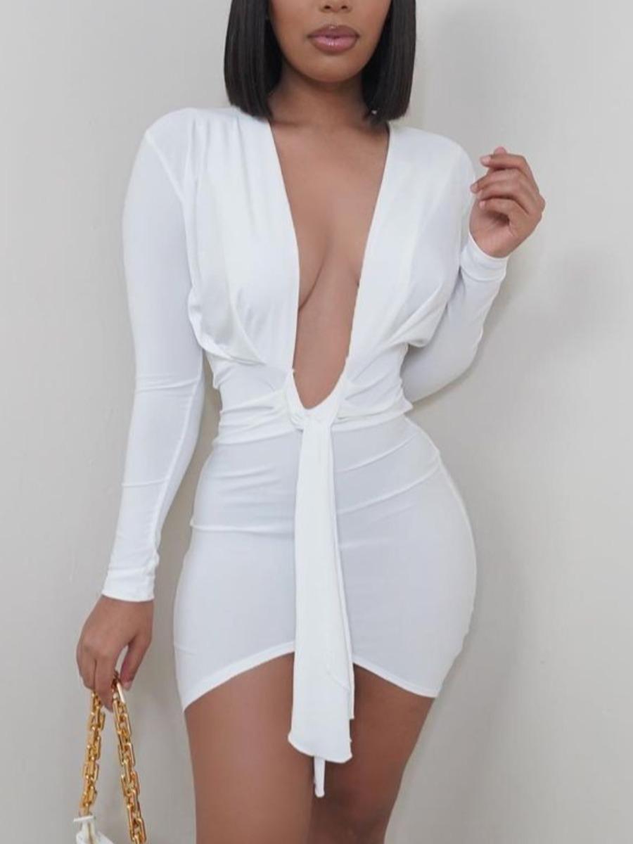 LW Sexy Deep V Neck Bandage Design White Mini Dress
