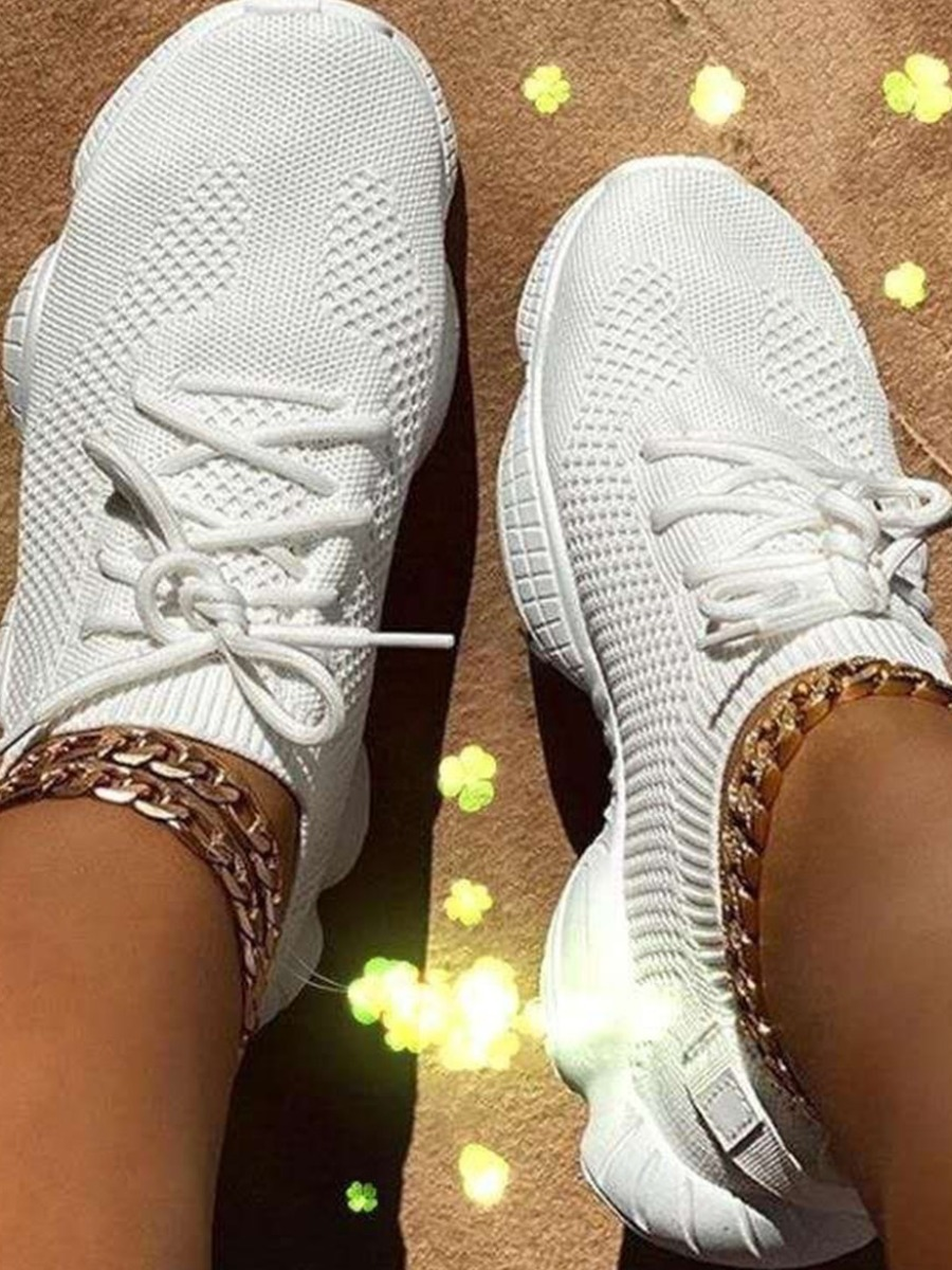 Lovely Sporty Round-toe White Sneakers