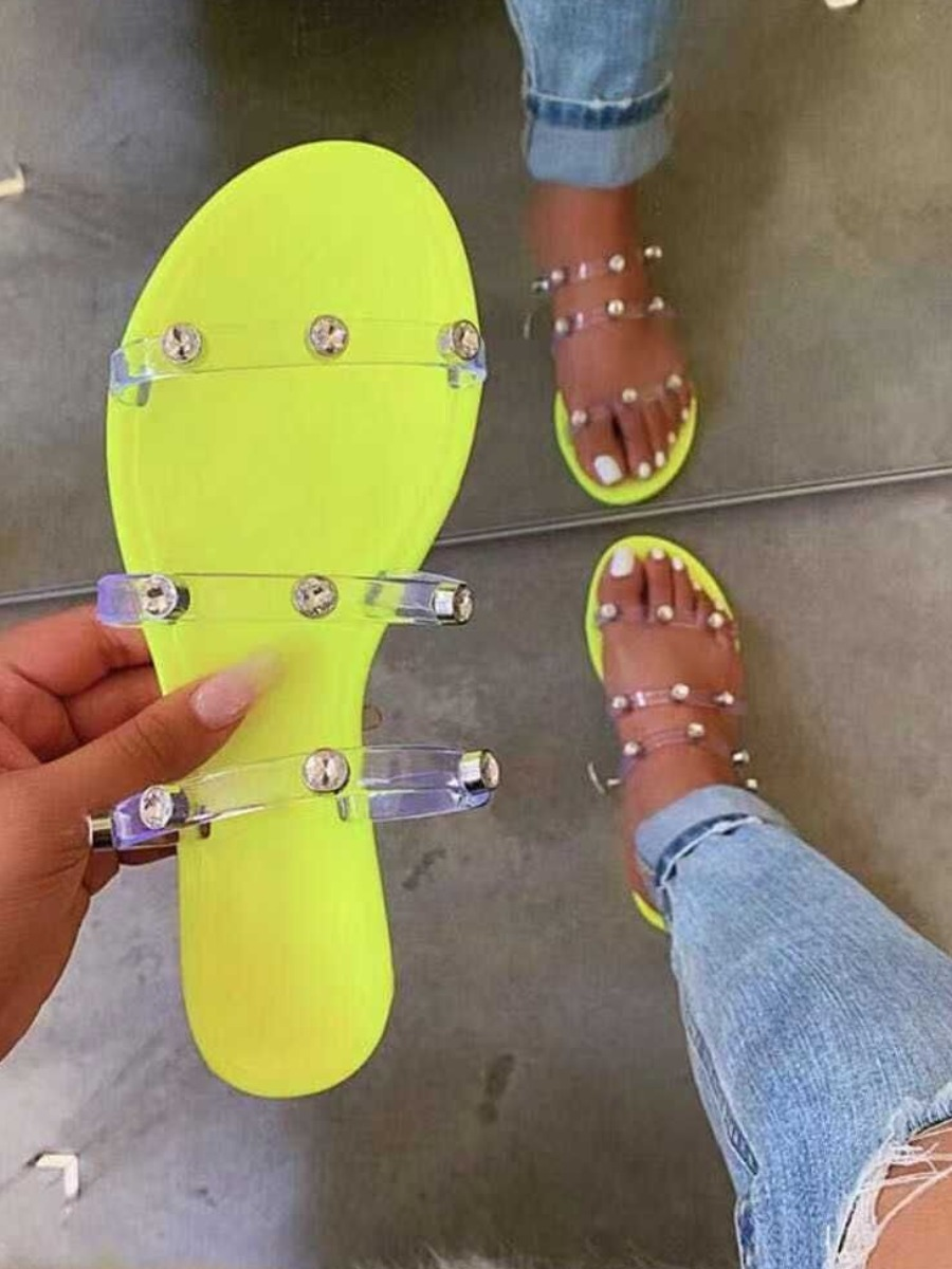 Lovely Casual See-through Round-toe Yellow Slippers