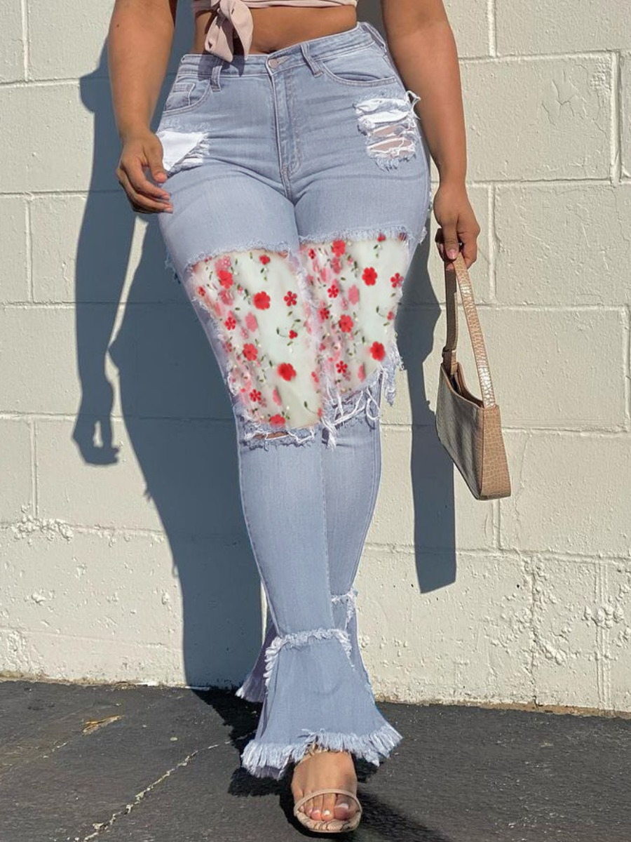 LW Sweet Floral Print Ripped Flared Baby Blue Jeans