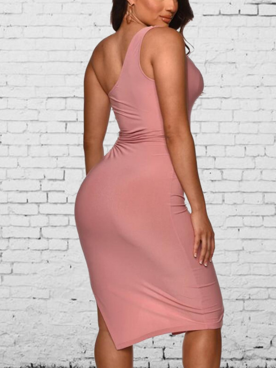 Lovely Sexy One Shoulder Hollow-out Split Pink Knee Length Dress