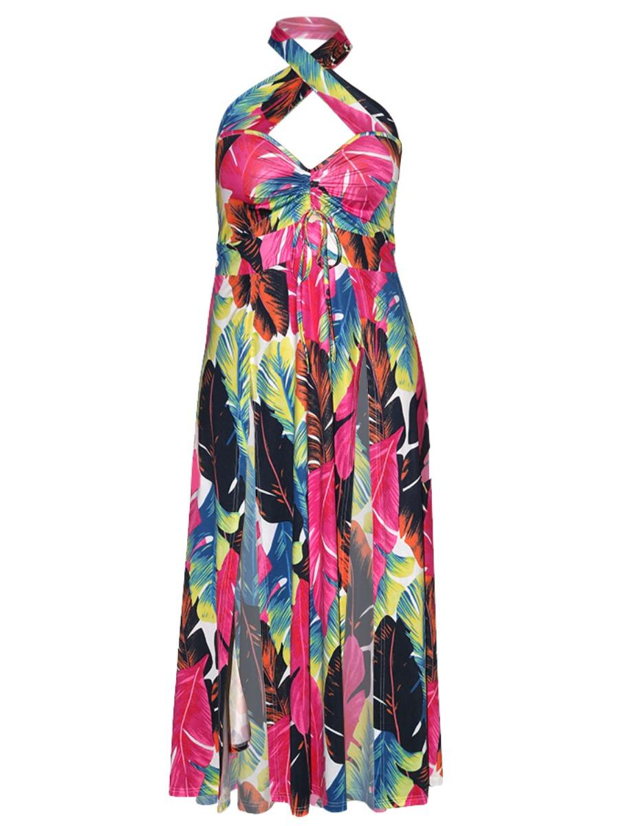 Lovely Boho Floral Print high Split Multicolor Floor Length Plus Size Dress