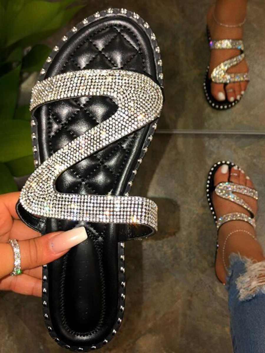 LW Casual Sequined Black Slippers