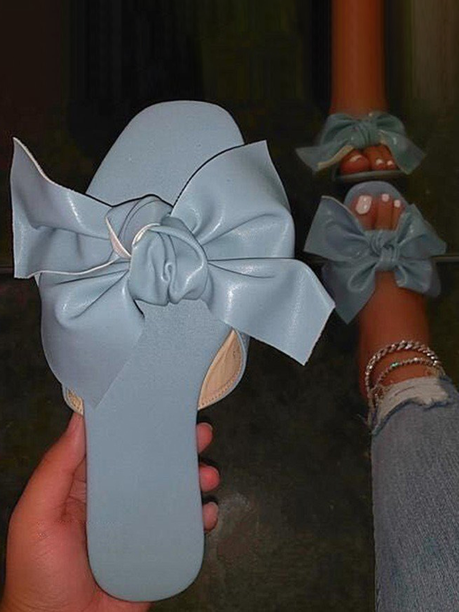 Lovely Casual Bow-tie Decoration Baby Blue Slippers