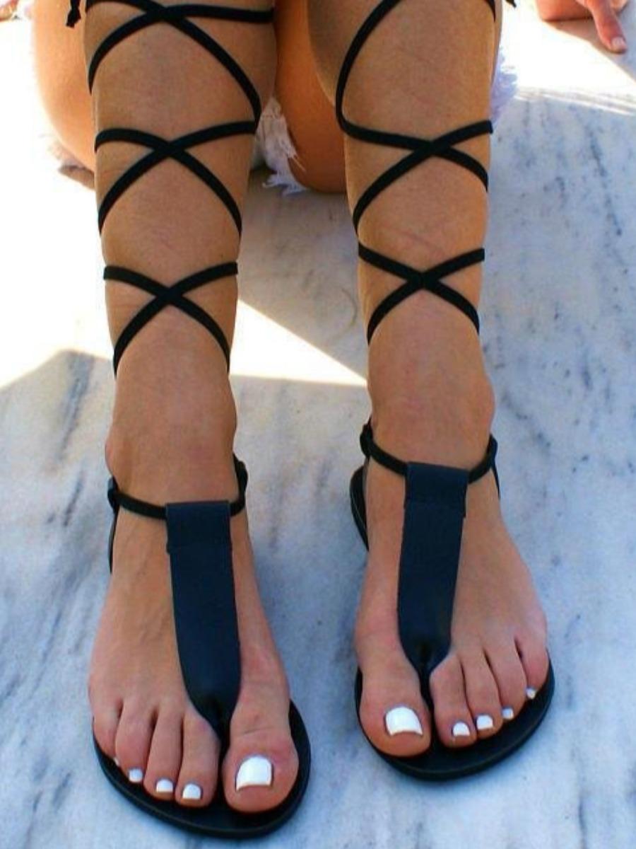LW Street Bandage Design Black Sandals