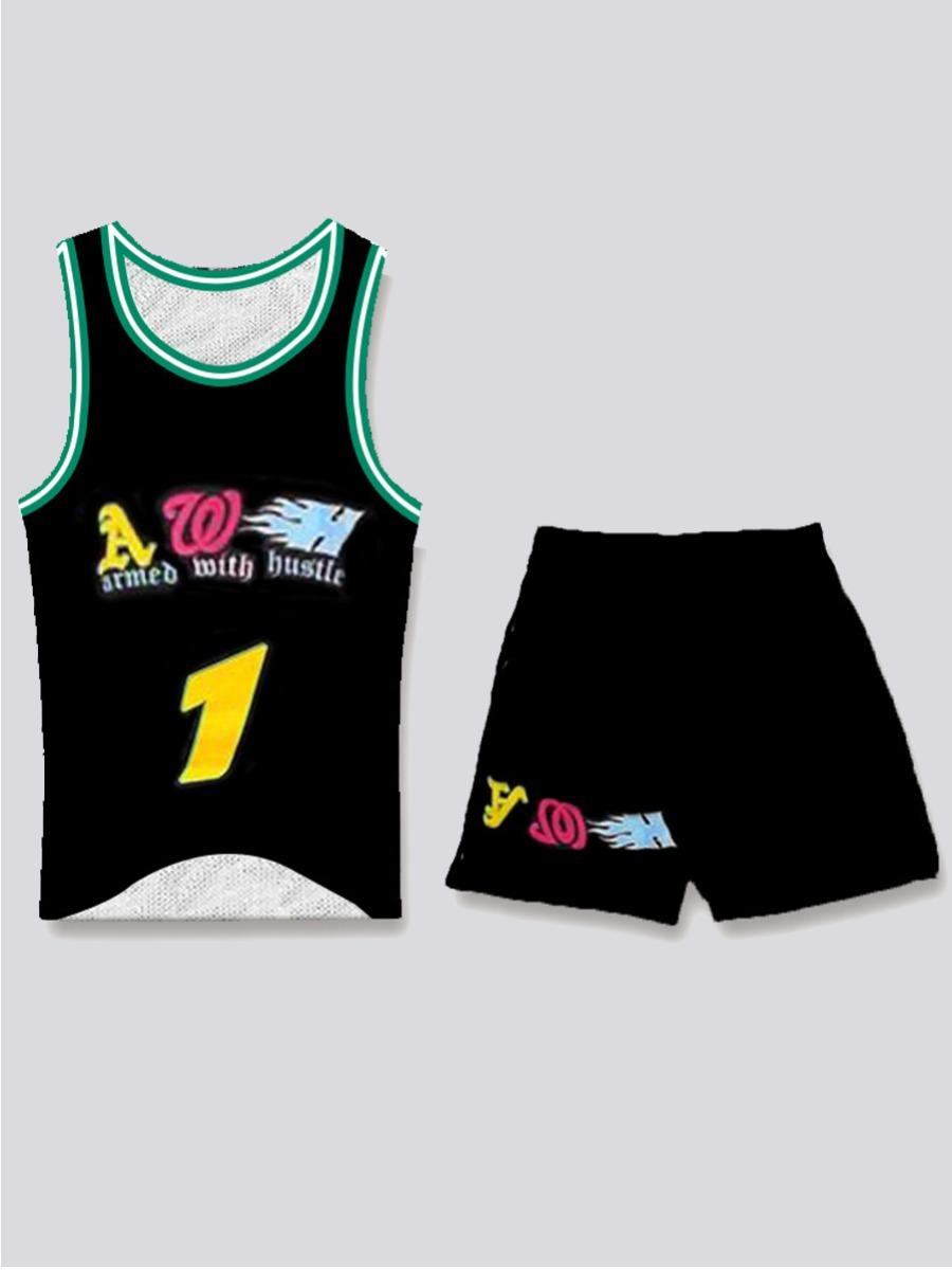 LW Men Sporty Letter Print Striped Black Two Piece Shorts Set