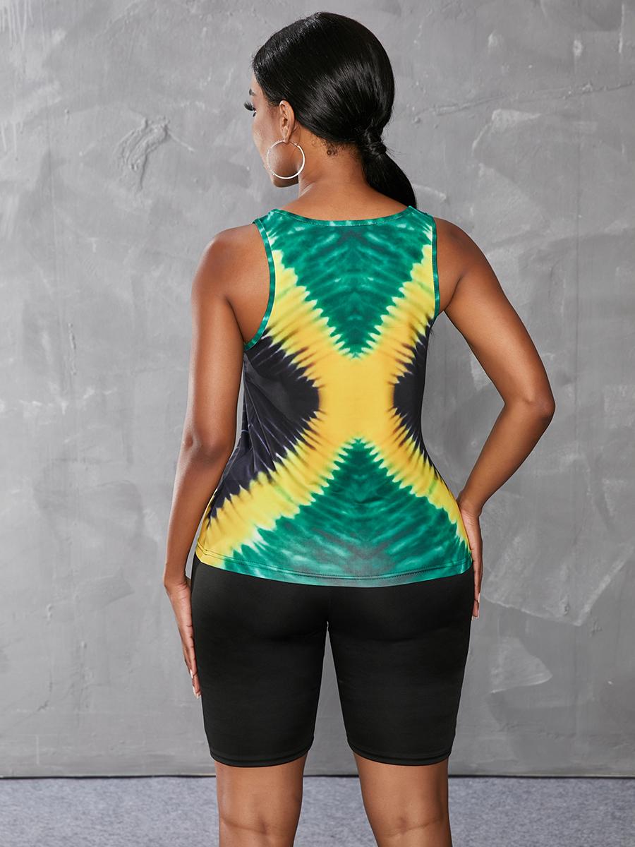 Lovely Sporty O Neck Tie-dye Green Camisole